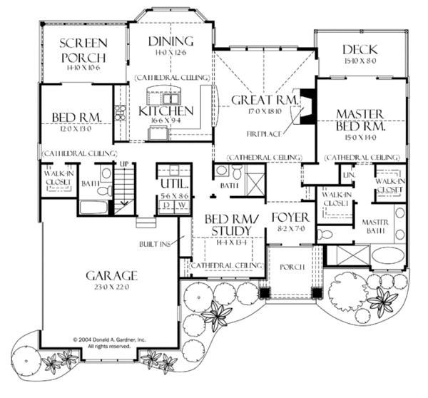 Craftsman Floor Plan - Main Floor Plan Plan #929-935