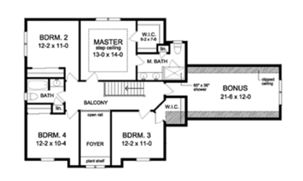 Colonial Floor Plan - Upper Floor Plan Plan #1010-54