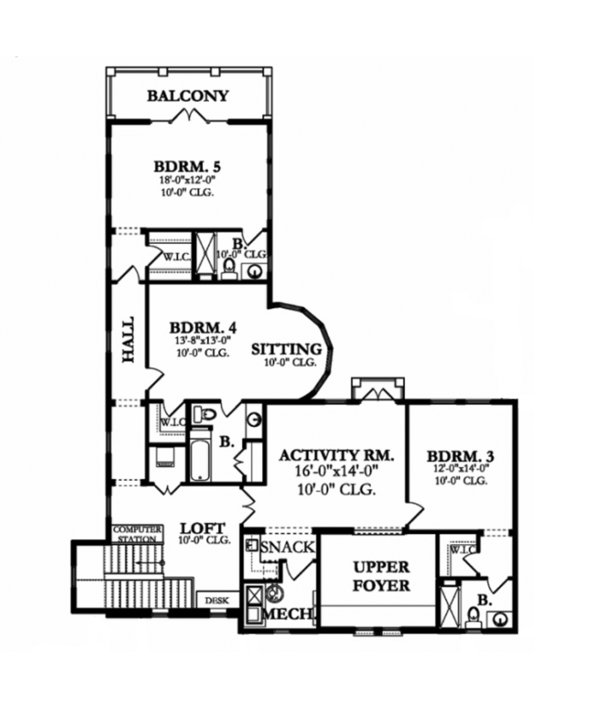 Mediterranean Floor Plan - Upper Floor Plan Plan #1058-154