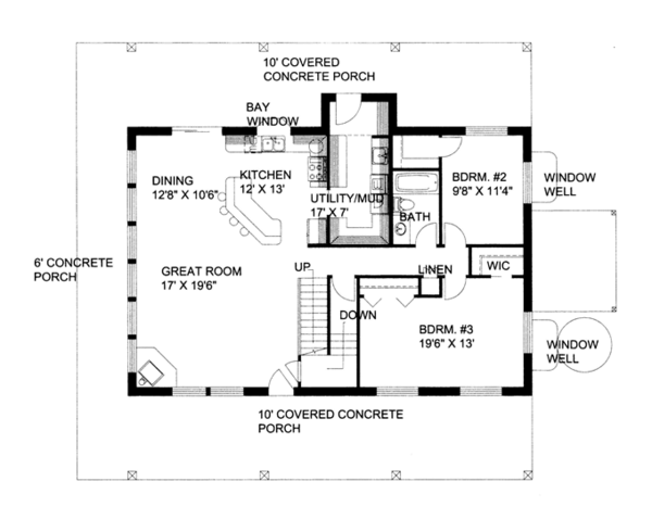 Contemporary Floor Plan - Main Floor Plan Plan #117-860