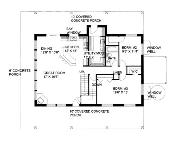 Contemporary Floor Plan - Main Floor Plan Plan #117-860