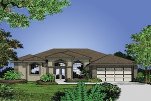 Mediterranean Exterior - Front Elevation Plan #417-487