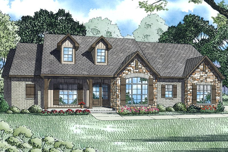 European Exterior - Front Elevation Plan #17-3383 - Houseplans.com