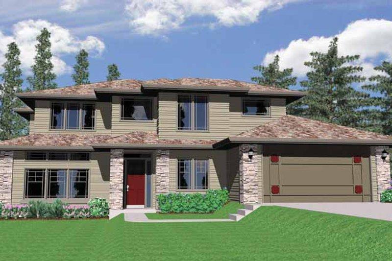 Prairie Exterior - Front Elevation Plan #509-320 - Houseplans.com