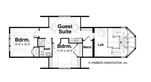 Craftsman Floor Plan - Upper Floor Plan #928-259