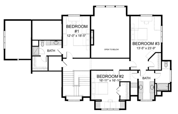 Craftsman Floor Plan - Upper Floor Plan Plan #928-260