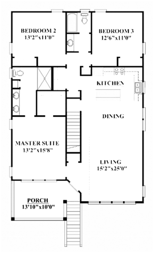 Craftsman Floor Plan - Upper Floor Plan Plan #991-25