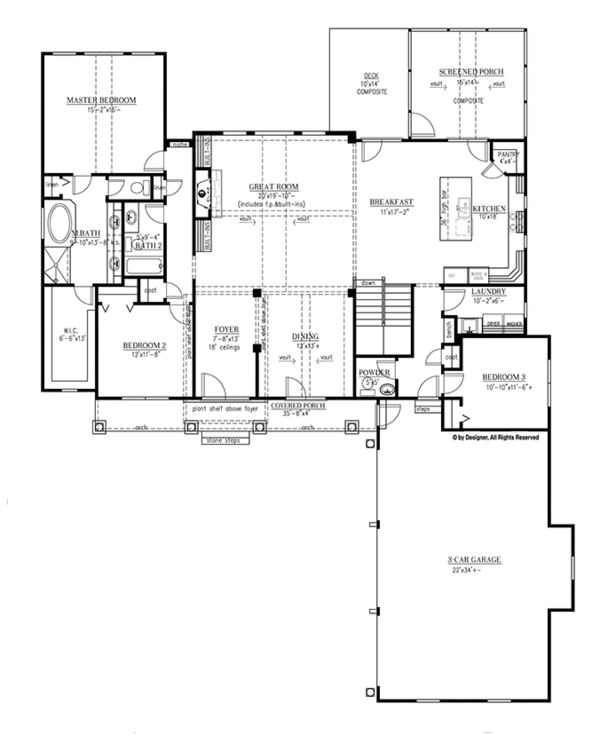 Craftsman Floor Plan - Main Floor Plan Plan #437-69