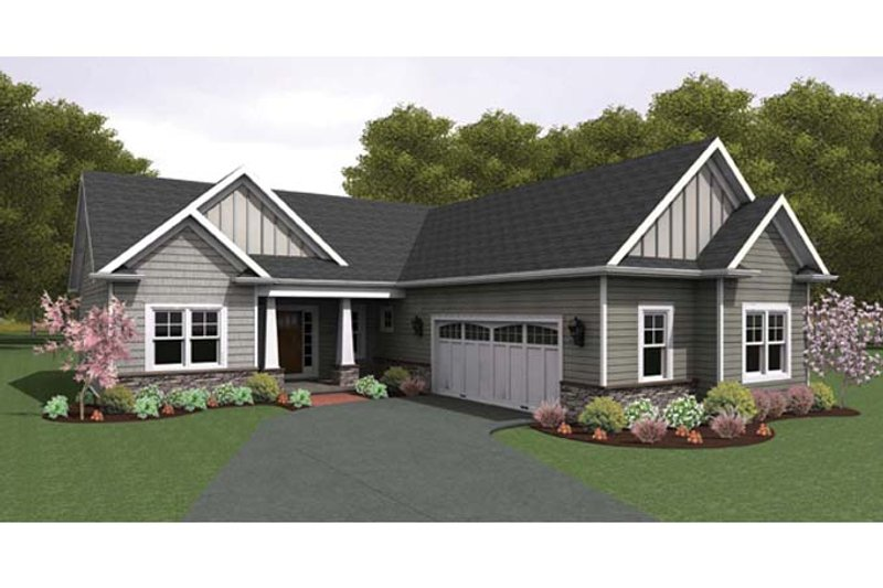 Ranch Exterior - Front Elevation Plan #1010-41