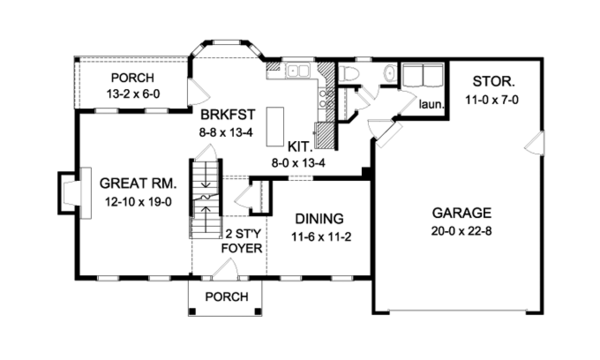 Colonial Floor Plan - Main Floor Plan Plan #1010-71