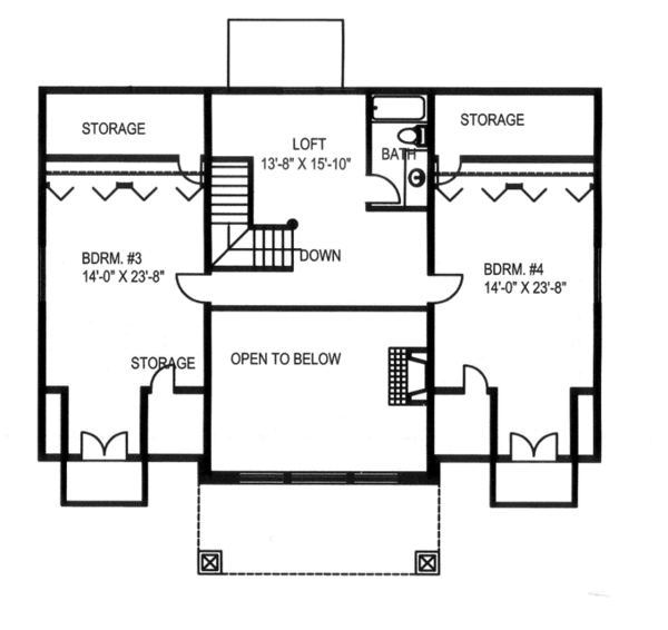Craftsman Floor Plan - Upper Floor Plan Plan #117-841