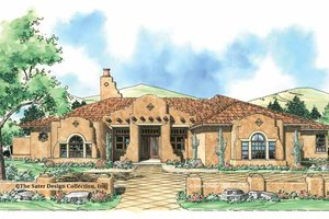 Architectural House Design - Adobe / Southwestern Exterior - Front Elevation Plan #930-307