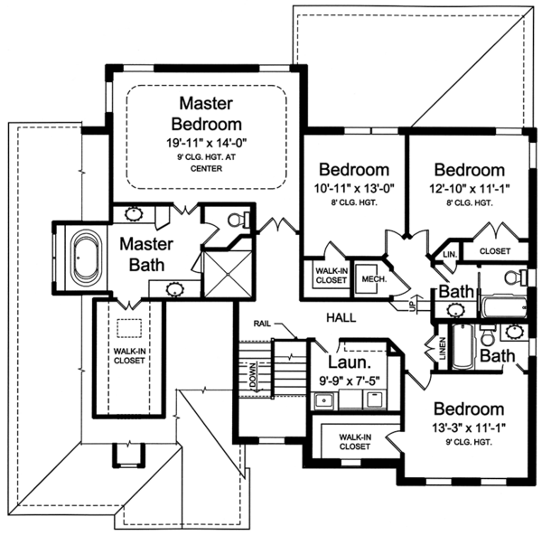 European Floor Plan - Upper Floor Plan Plan #46-857