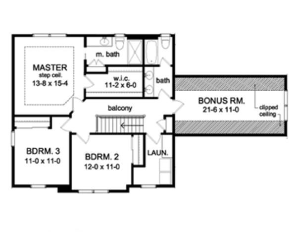 Colonial Floor Plan - Upper Floor Plan Plan #1010-47