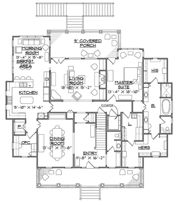 Southern Floor Plan - Main Floor Plan #1054-19