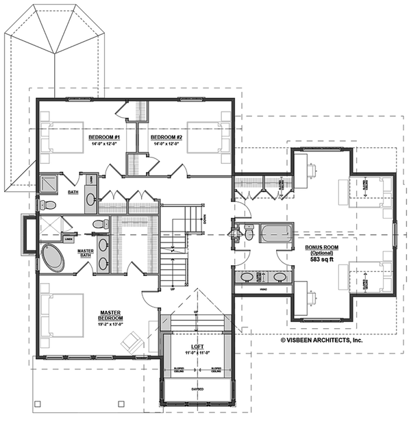 Traditional Floor Plan - Upper Floor Plan #928-299