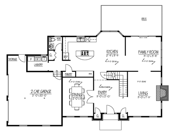 Colonial Floor Plan - Main Floor Plan Plan #1061-5