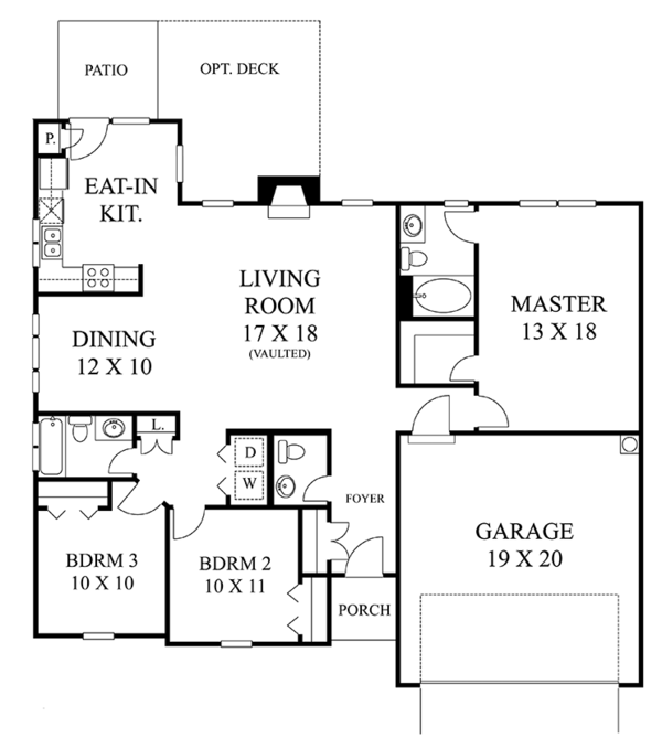 Colonial Floor Plan - Main Floor Plan Plan #1053-58