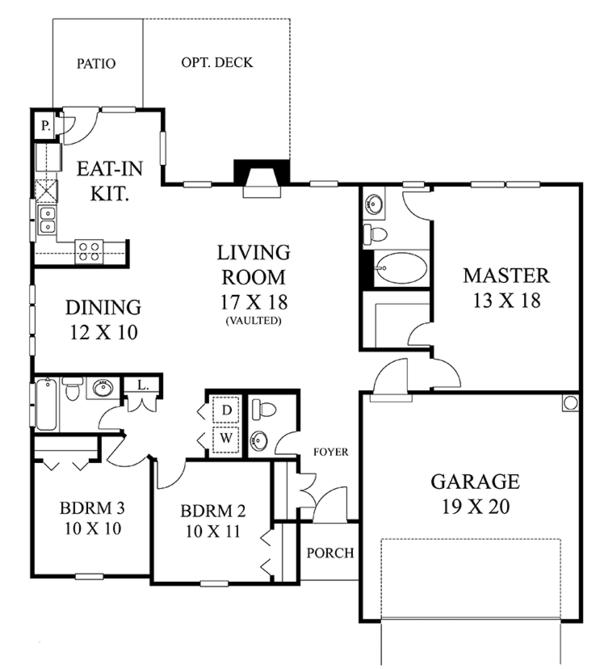 Home Plan - Colonial Floor Plan - Main Floor Plan #1053-58
