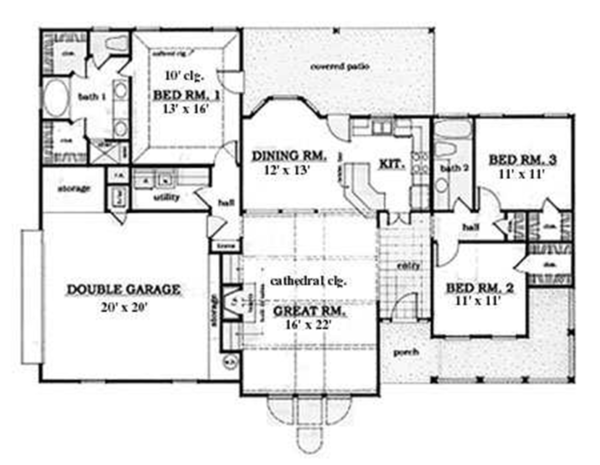 Country Floor Plan - Main Floor Plan Plan #42-574