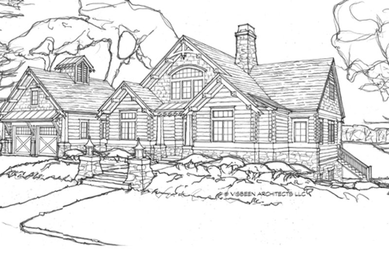 Log Exterior - Front Elevation Plan #928-263 - Houseplans.com