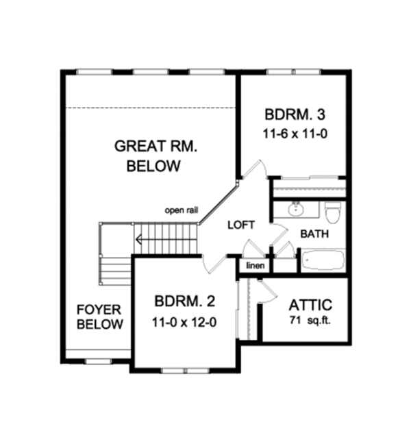Colonial Floor Plan - Upper Floor Plan Plan #1010-105