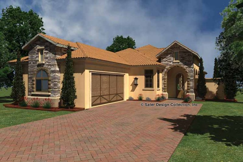 House Plan Design - Mediterranean Exterior - Front Elevation Plan #930-431