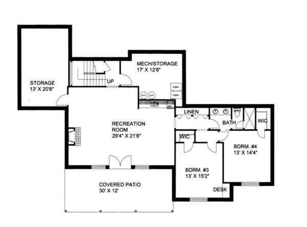 Craftsman Floor Plan - Lower Floor Plan Plan #117-858