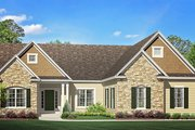 Ranch Style House Plan - 3 Beds 2.5 Baths 1943 Sq/Ft Plan #1010-202 Exterior - Front Elevation