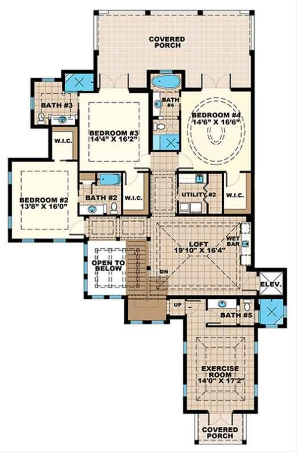 Country Floor Plan - Upper Floor Plan Plan #1017-157