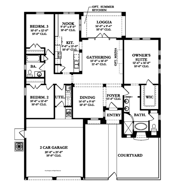 Mediterranean Floor Plan - Main Floor Plan Plan #1058-4