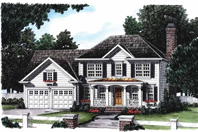 Colonial Exterior - Front Elevation Plan #927-399