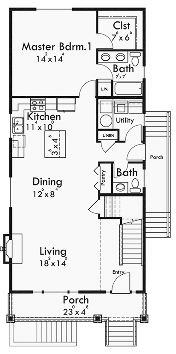 Craftsman Floor Plan - Main Floor Plan Plan #303-473