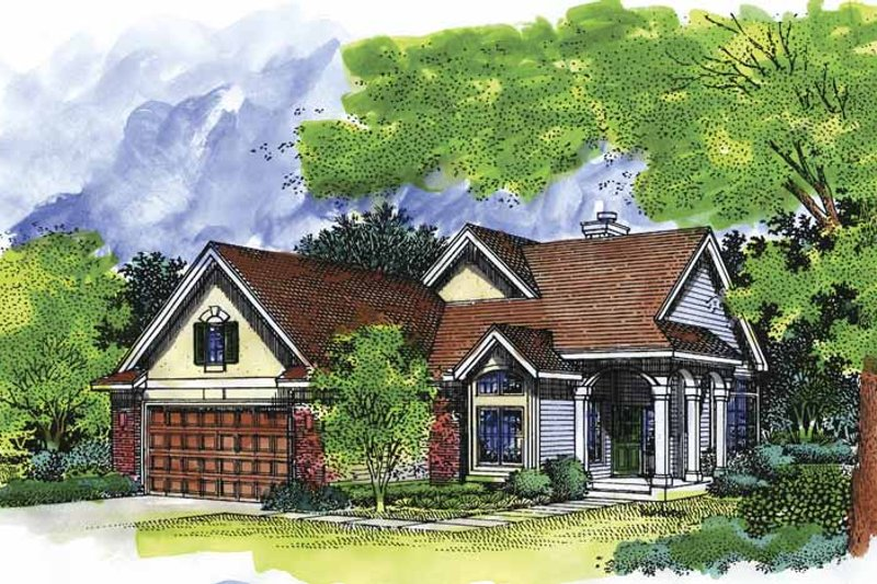 European Exterior - Front Elevation Plan #320-517