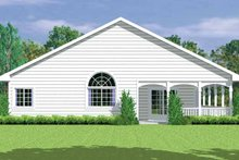 House Blueprint - Country Exterior - Rear Elevation Plan #72-1081