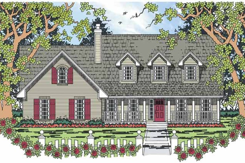 Country Exterior - Front Elevation Plan #42-710