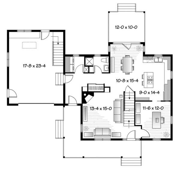 Home Plan - Country Floor Plan - Main Floor Plan #23-2561