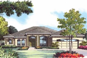 Mediterranean Exterior - Front Elevation Plan #1015-13