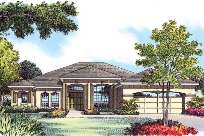 Mediterranean Exterior - Front Elevation Plan #1015-13 - Houseplans.com