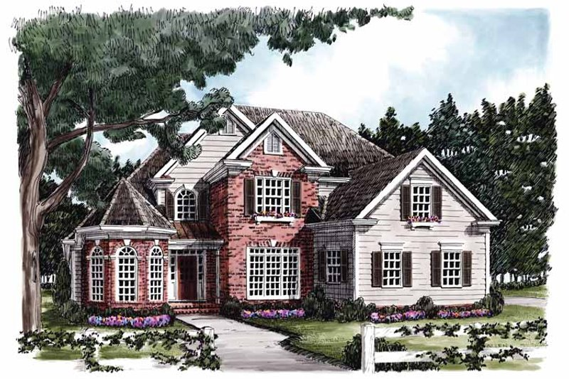 Colonial Exterior - Front Elevation Plan #927-586