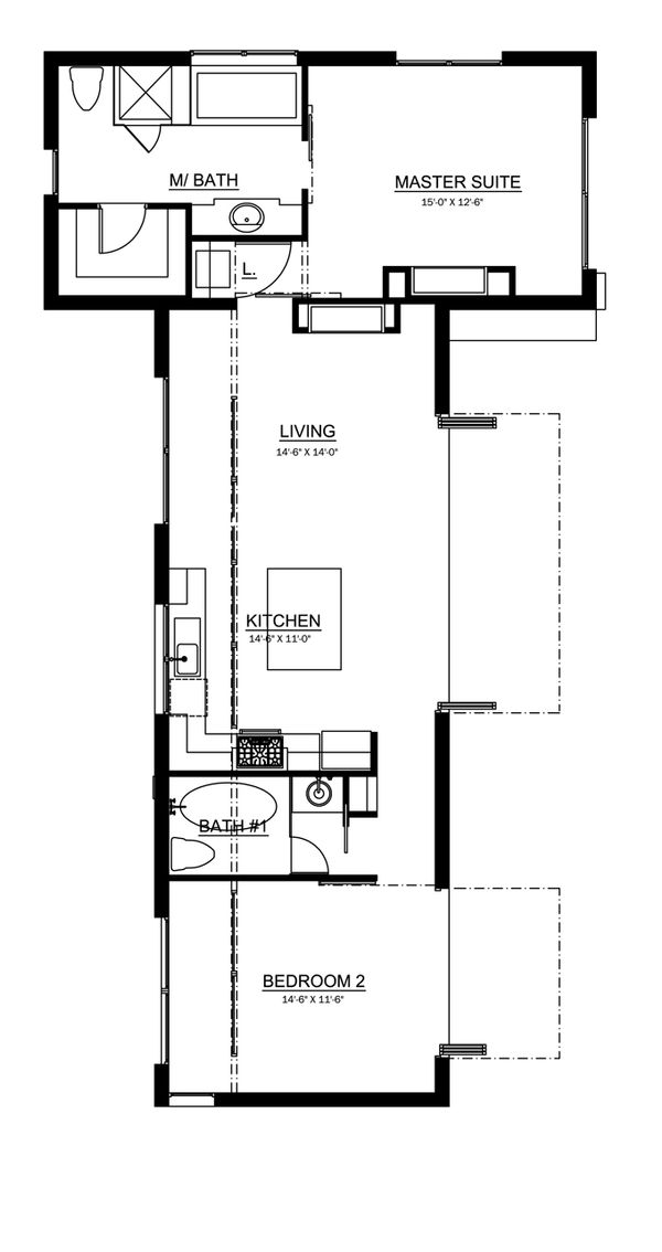 Traditional style house plan 2 beds 2 baths 1114 sq ft for 10 x 11 room square feet