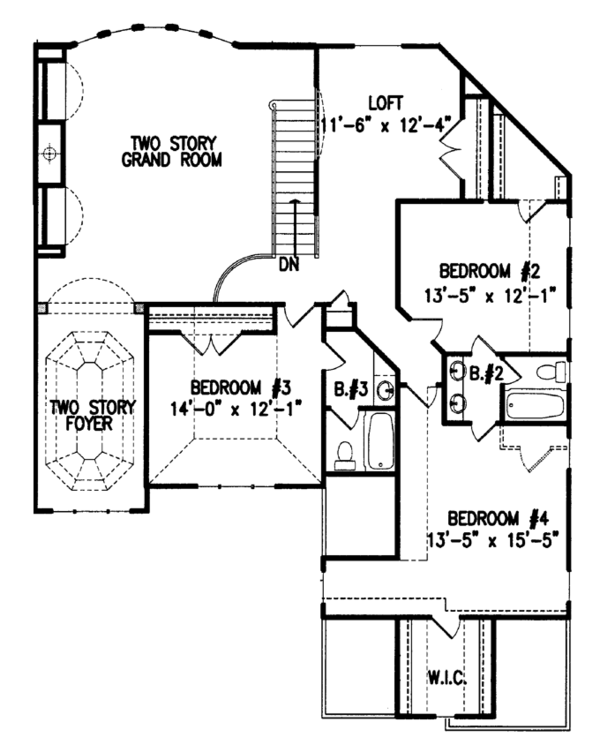 Country Floor Plan - Upper Floor Plan Plan #54-377