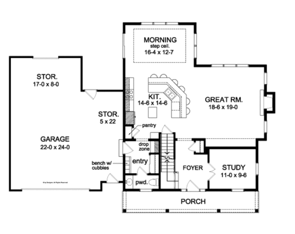 Colonial Floor Plan - Main Floor Plan Plan #1010-82