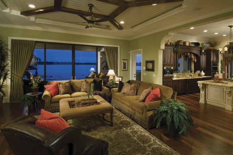 Mediterranean Interior - Family Room Plan #1039-1 - Houseplans.com