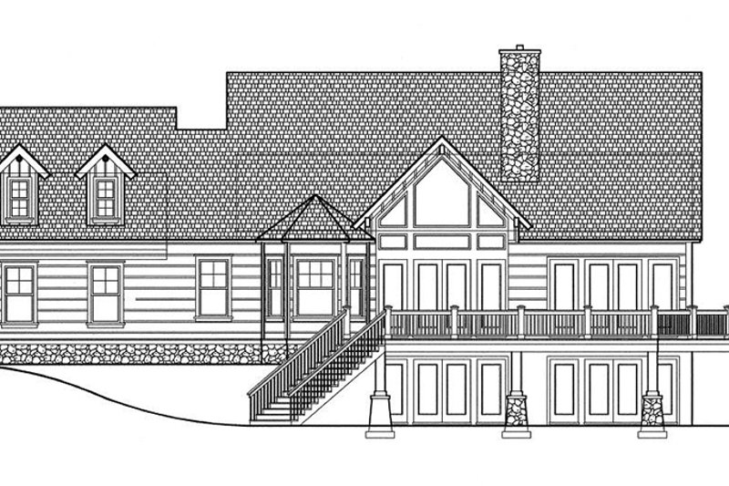 Log Exterior - Rear Elevation Plan #417-564 - Houseplans.com