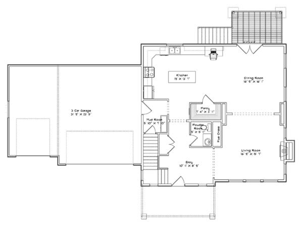 Traditional Floor Plan - Main Floor Plan Plan #1060-15