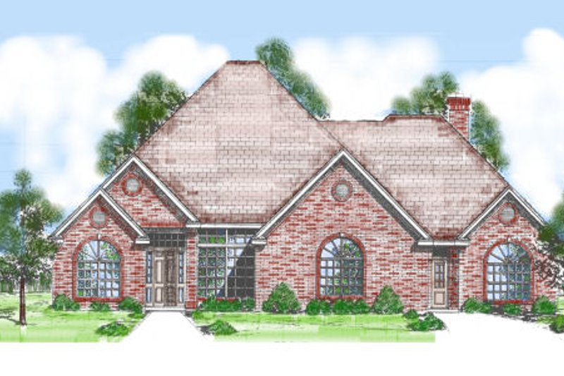 European Style House Plan - 4 Beds 3.5 Baths 2831 Sq/Ft Plan #52-212 Exterior - Front Elevation