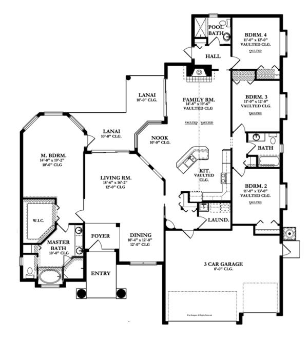 Mediterranean Floor Plan - Main Floor Plan Plan #1058-46
