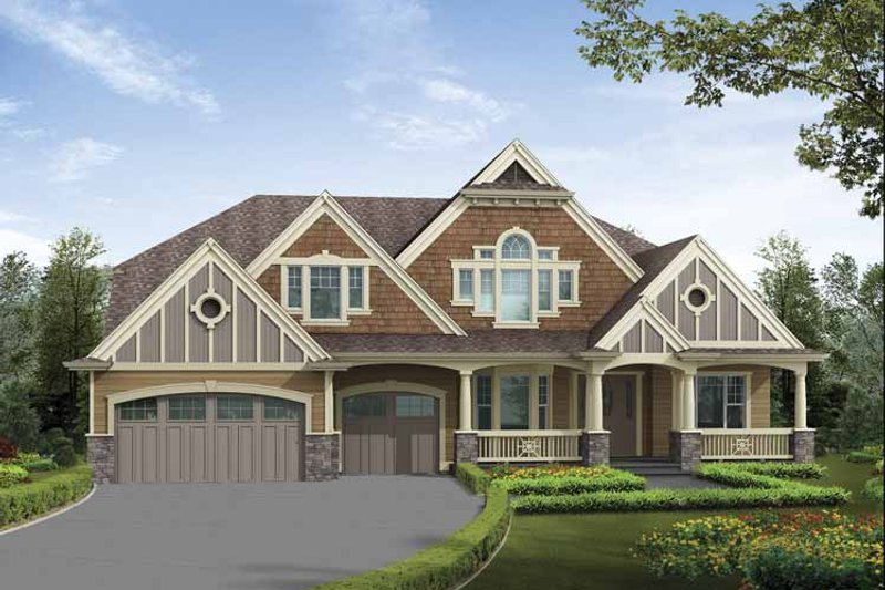 Architectural House Design - Craftsman Exterior - Front Elevation Plan #132-502