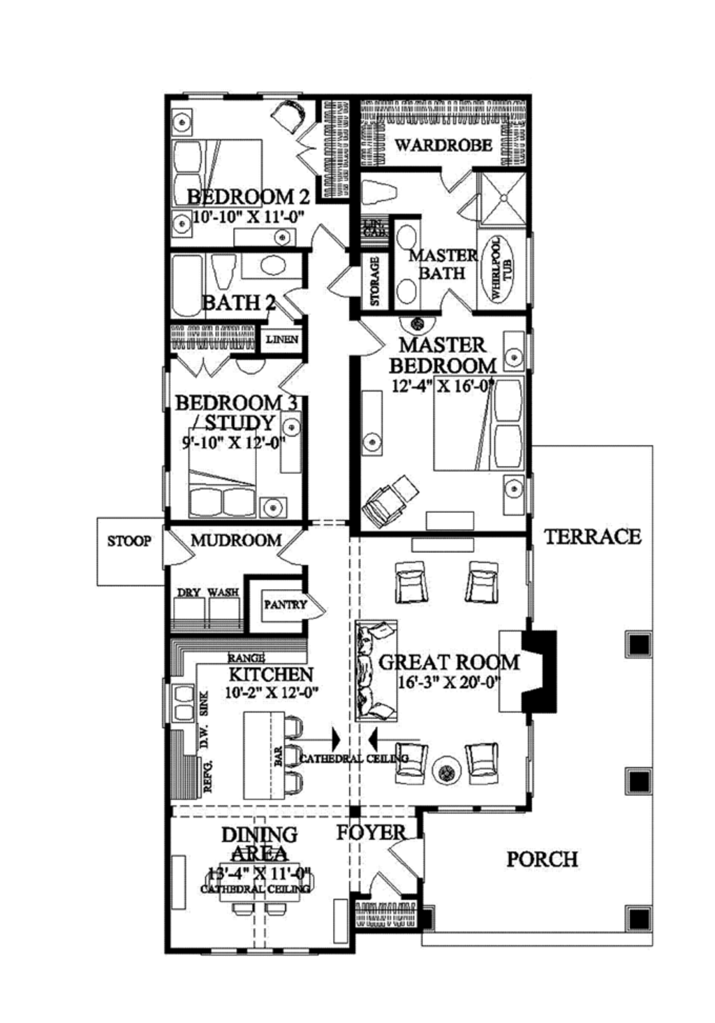 Craftsman style house plan 3 beds 2 baths 1628 sq ft for Www floorplans com